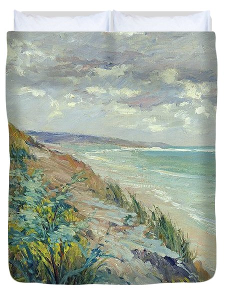 Cliffs By The Sea At Trouville  Duvet Cover