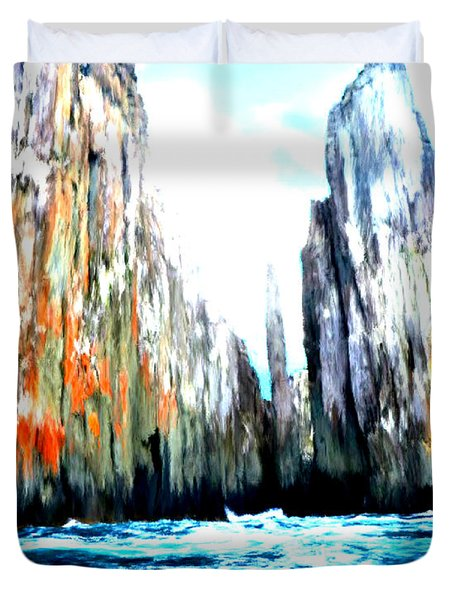 Duvet Cover featuring the painting Cliffs By The Sea by Bruce Nutting