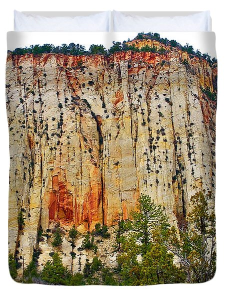 Cliffs Near Checkerboard Mesa Along Zion-mount Carmel Highway In Zion National Park-utah Duvet Cover