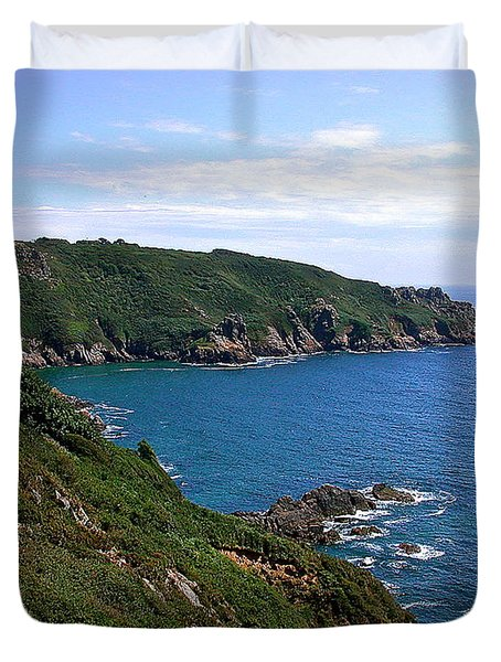 Cliffs On Isle Of Guernsey Duvet Cover