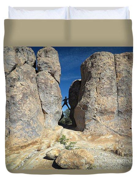 Duvet Cover featuring the photograph Climber City Of Rocks by Martin Konopacki