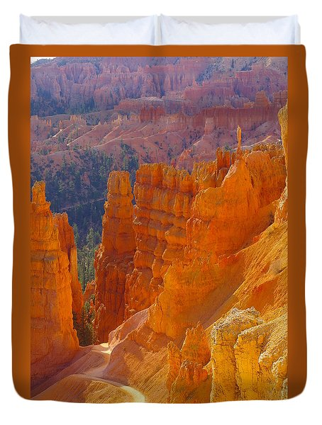 climbing out of the Canyon Duvet Cover by Jeff Swan