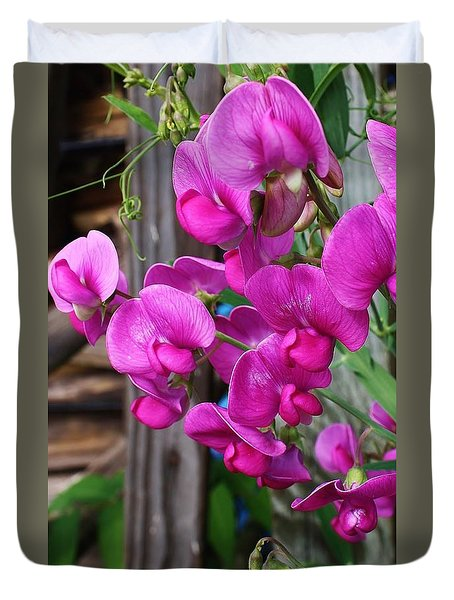 Duvet Cover featuring the photograph Climbing Sweet Peas by Bruce Bley