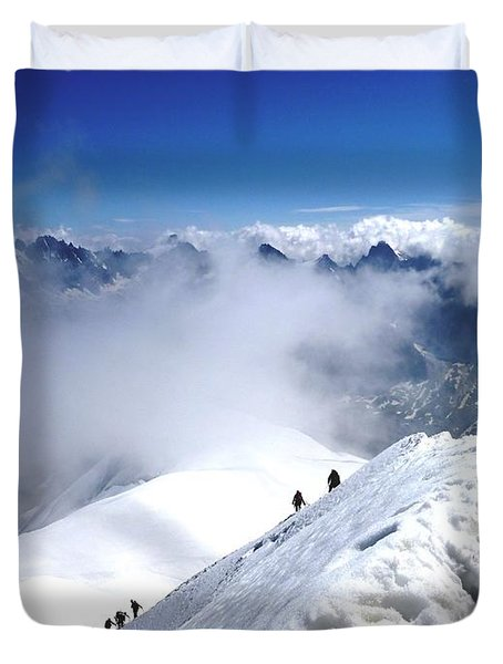 Climbing To The Aiguille Du Midi Duvet Cover