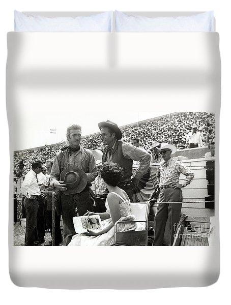Clint Eastwood  Eric Fleming Characters Rowdy Yates Salinas California 1962 Duvet Cover