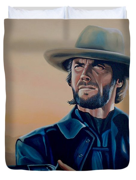 Clint Eastwood Painting Duvet Cover