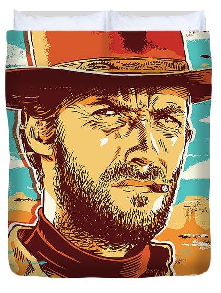 Clint Eastwood Pop Art Duvet Cover by Jim Zahniser