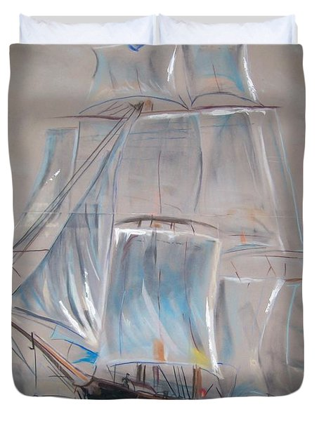 Clipper In Mist Duvet Cover by Peter Suhocke
