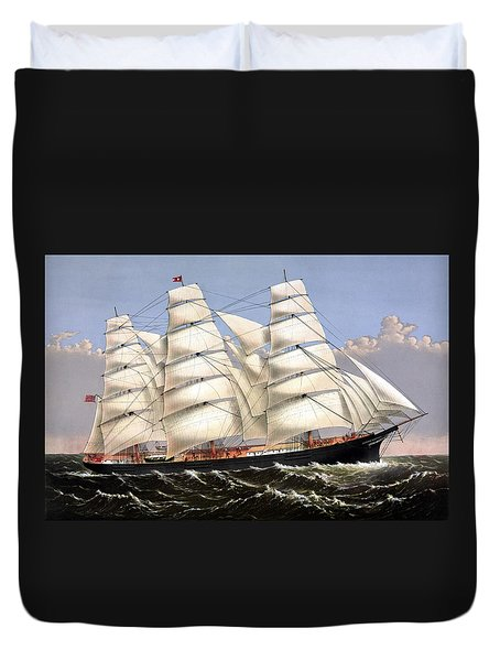 Clipper Ship Three Brothers Duvet Cover by War Is Hell Store