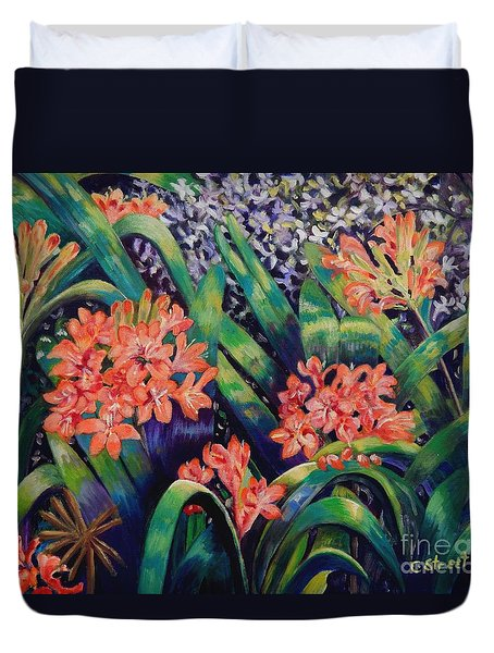 Clivias In Bloom Duvet Cover by Caroline Street