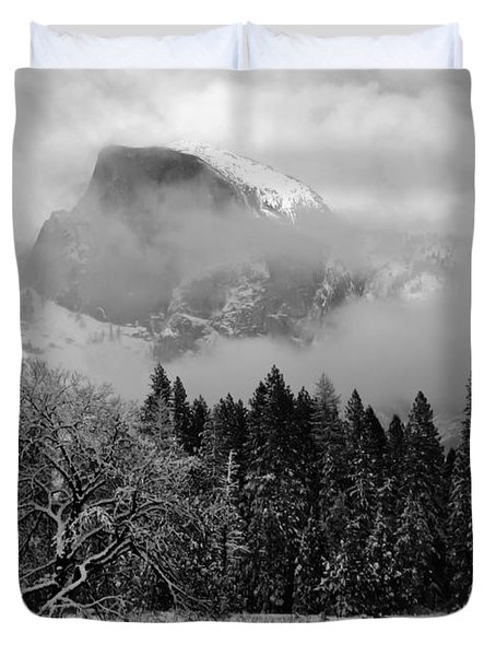Cloaked In A Snow Storm - Monochrome Duvet Cover by Heidi Smith
