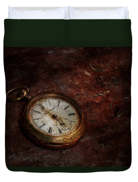 Clock - Time Waits Duvet Cover by Mike Savad