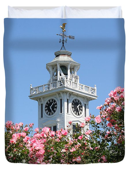 Clock Tower And Roses Duvet Cover