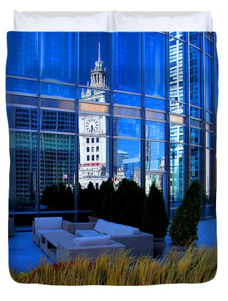 Clock Tower Reflection Duvet Cover