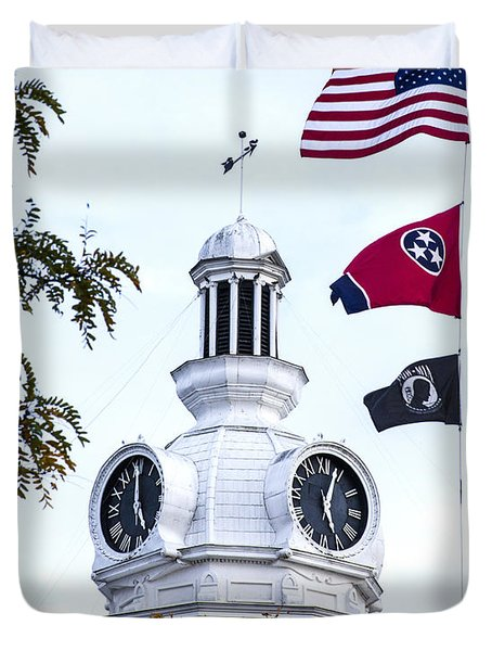 Clock Tower With Tennessee Mia Us Flag Art Duvet Cover