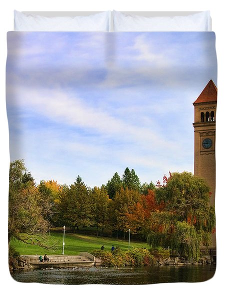 Clocktower And Autumn Colors Duvet Cover