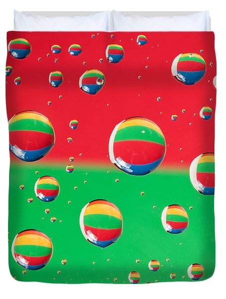 Clolrful Water Drop Reflections Duvet Cover by Sharon Dominick