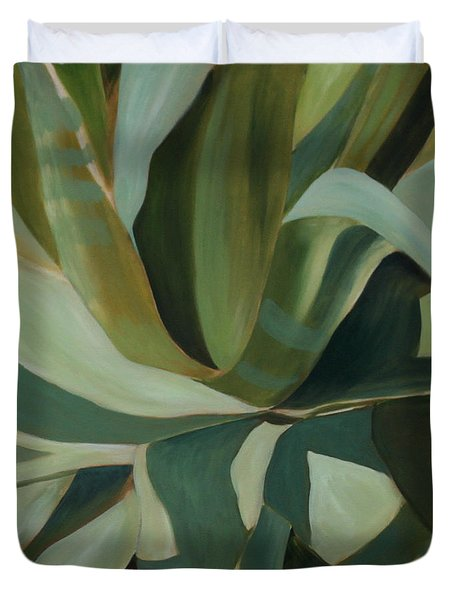 Duvet Cover featuring the painting Close Cactus by Debbie Hart