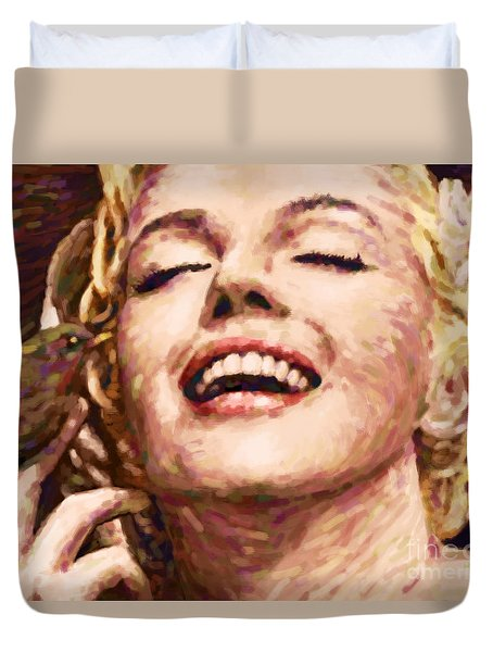 Close Up Beautifully Happy Duvet Cover by Atiketta Sangasaeng