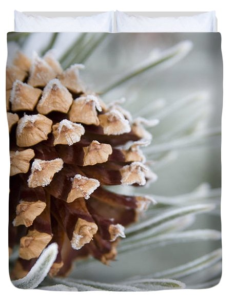 Close-up Image Of Frost-covered Pine Duvet Cover
