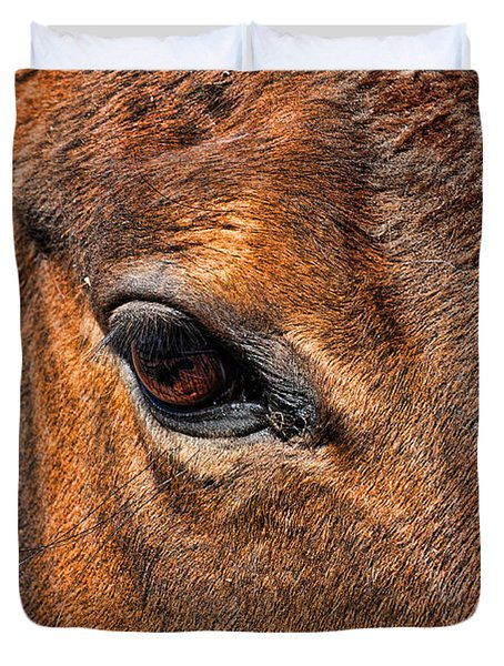 Close Up Of A Horse Eye Duvet Cover by Paul Ward