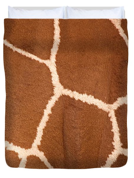Close-up Of A Reticulated Giraffe Duvet Cover by Panoramic Images