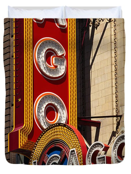 Close-up Of A Theater Sign, Chicago Duvet Cover