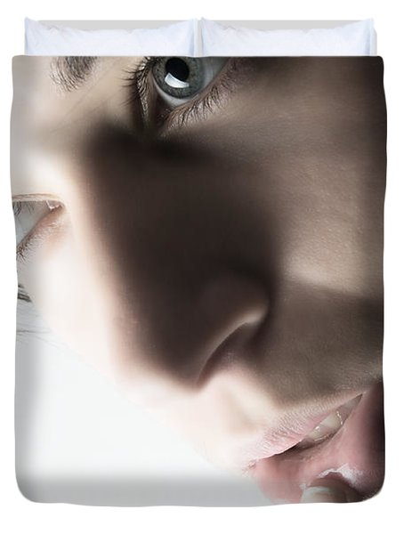 Close Up Of Beautiful Female Model Duvet Cover by Michal Bednarek