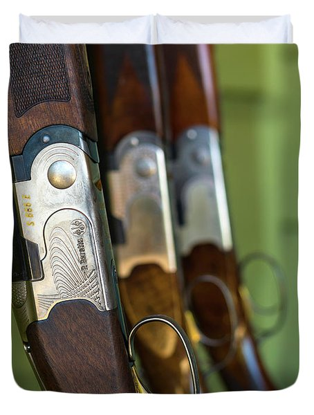 Close-up Of Beretta Shotguns Duvet Cover