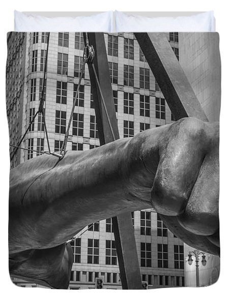 Close Up Of Joe Louis Fist Black And White  Duvet Cover