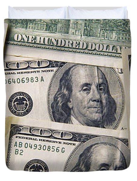 Close-up Of One Hundred Dollar Bills Duvet Cover