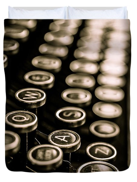 Close Up Vintage Typewriter Duvet Cover by Edward Fielding