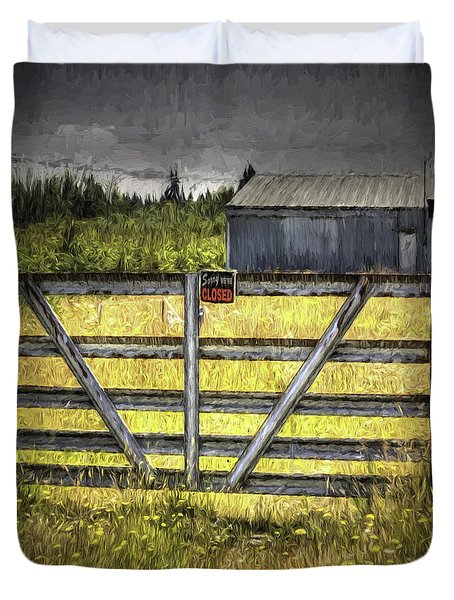 Duvet Cover featuring the photograph Closed Down by Jean OKeeffe Macro Abundance Art