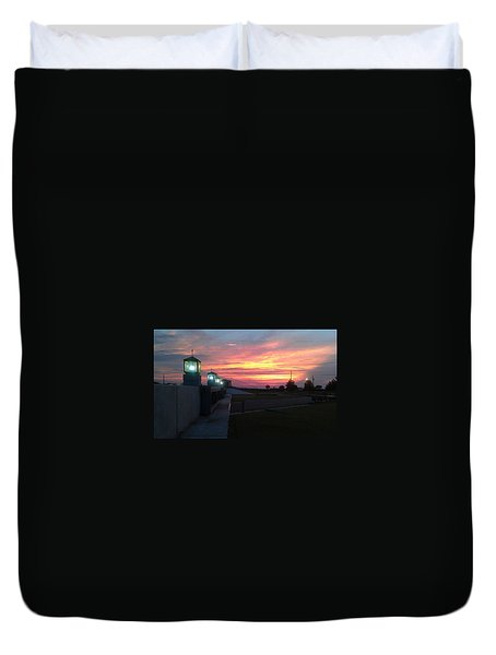 Closed Flood Gates Sunset Duvet Cover