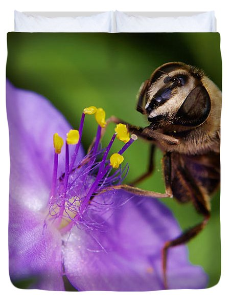 Closeup Of A Bee On A Purple Flower Duvet Cover