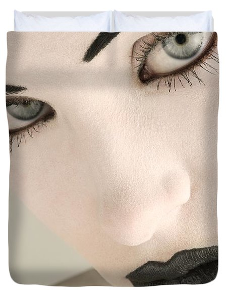 Closeup Of A Womans Face Duvet Cover by Darren Greenwood