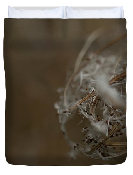 Closeup Of Small Hairy Seeds. Rhoen Duvet Cover
