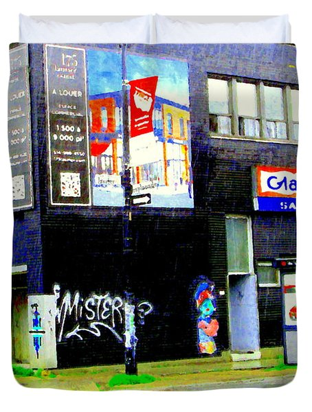 Closing Time Montreal Factory Glatts Produits Quebec Meats Graffiti Art City Scenes Carole Spandau Duvet Cover by Carole Spandau