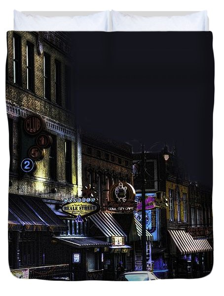 Memphis - Night - Closing Time On Beale Street Duvet Cover
