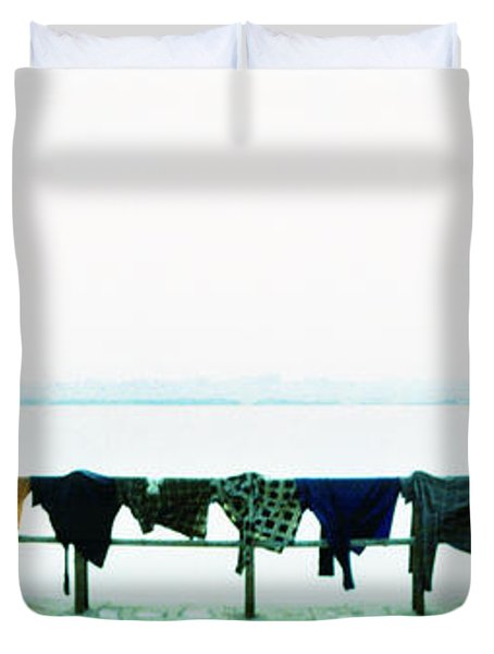 Clothes Drying At The Riverbank, Ganges Duvet Cover