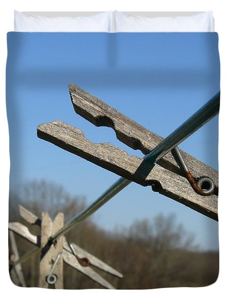 Duvet Cover featuring the photograph Clothespin In Winter by Jane Ford