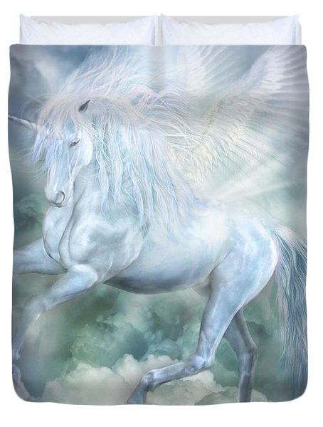 Duvet Cover featuring the mixed media Unicorn Cloud Dancer by Carol Cavalaris