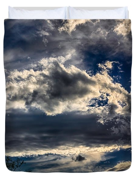 Duvet Cover featuring the photograph Cloud Drama by Mark Myhaver