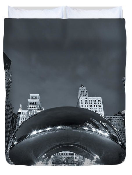 Cloud Gate And Skyline - Blue Toned Duvet Cover by Adam Romanowicz