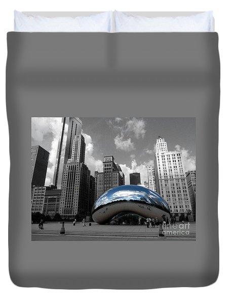 Cloud Gate B-w Chicago Duvet Cover