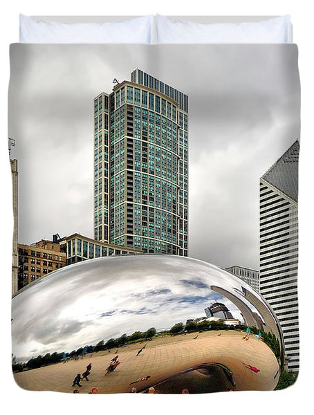 Cloud Gate In Chicago Duvet Cover by Mitchell R Grosky