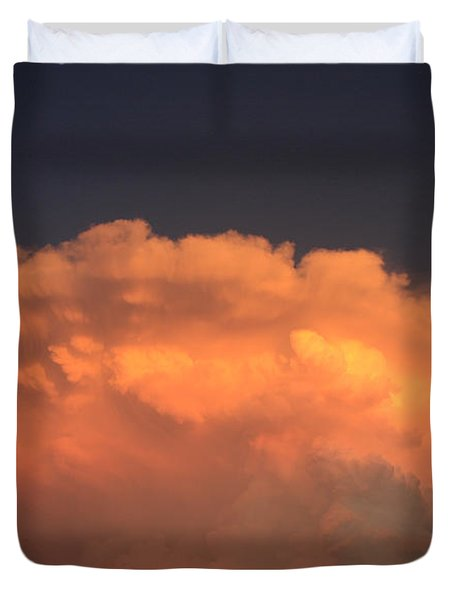 Duvet Cover featuring the photograph Cloud On Fire by Jerry Bunger