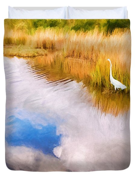 Cloud Reflection In Water Digital Art Duvet Cover by Vizual Studio