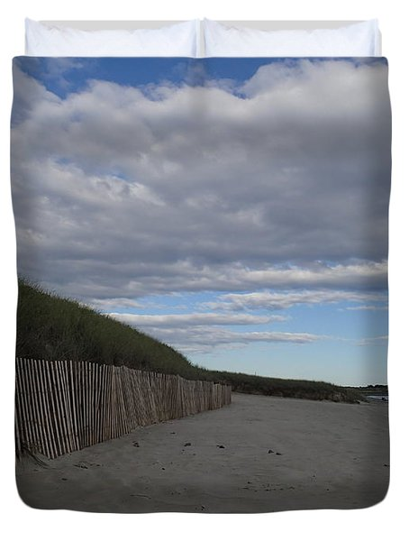 Duvet Cover featuring the photograph Clouded Beach by Robert Nickologianis