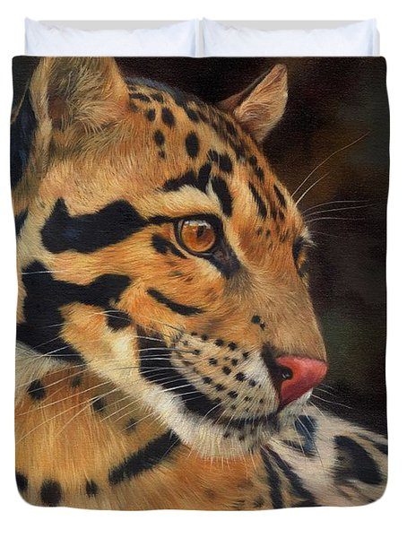 Clouded Leopard Duvet Cover by David Stribbling